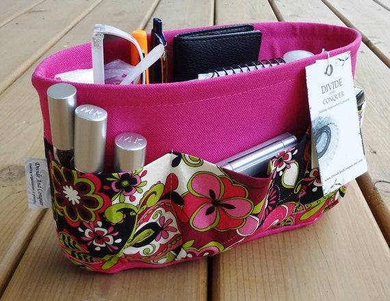 Purse ORGANIZER Insert SHAPER / Jacqueline Floral on Fuchsia / STURDY / 5 Sizes Available / Check out my shop for more variety