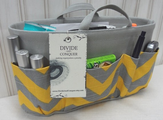 Purse ORGANIZER insert SHAPER with handles / Yellow & Gray Chevron / Extra Sturdy / Size SMALL / Bag Organizer / Ready to ship