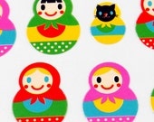 Kawaii Sticker Sheet - Matryoshka - Russian Dolls and Black Cat Dolls