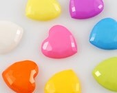 Heart Shaped Flatbacks / Cabochons - 8pcs - Pick your colors