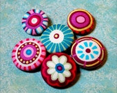 Funky Fabric Covered Buttons - handmade sewing buttons - 1 inch w/ shank - 6pcs - Additional sizes available