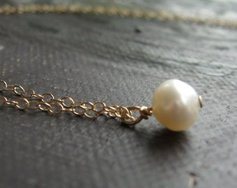 Single Pearl Necklace - AA Quality Freshwater Pearl Necklace Pendant Drop on goldfill necklace