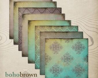 """Boho Brown Digital Scrapbook Paper Pack (12x12""""-300 dpi) - 8 Digital papers"""