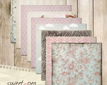 "Sweet Pea Digital Scrapbook Paper Pack (12x12""-300 dpi) - 9 Digital papers"