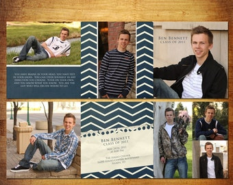 6 Panel Accordian Card Pano Trifold PSD Template - Navy Varsity Graduation