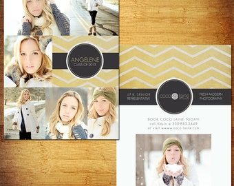 5x7 Senior Rep Cards PSD Template - Yellow Zig Zag