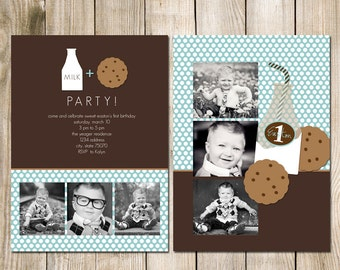 5x7 Birthday Photo Card Photoshop PSD Template - MIlk and Cookies