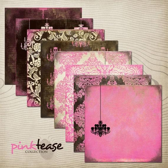 "Pink Tease Digital Scrapbook Paper Pack (12x12""-300 dpi) - 8 Digital papers"