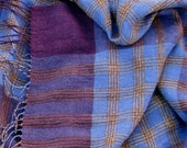 Handwoven Linen Flax Scarf (Shawl)- Purple Chess