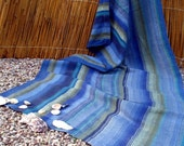 Beach Towel- Handwoven Linen Flax - POSEIDON 1, blue, green, striped, hand woven linen, beach blanket, gift,