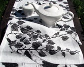 Linen Flax Table Runner- Black on White-Birch print
