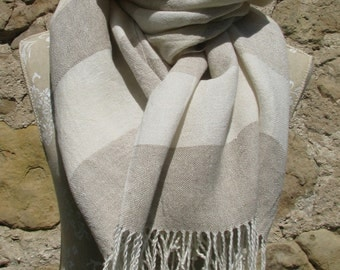 Handwoven Linen Scarf (Shawl)- Natural and white, striped scarf, natural linen, ecru linen pure linen scarf, linen shawl, unisex linen scarf