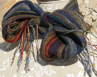 Linen Scarf- Handwoven Multicolor & Black Linen, Spring Scarf, scarfette, Hand woven linen, black, blue, yellow, grey, rainbow, chic, unique