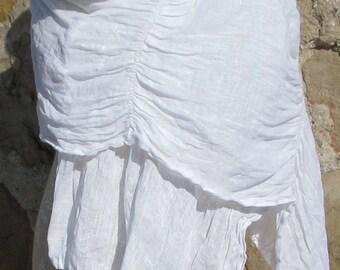 Ruffed Linen Scarf - Crispy White