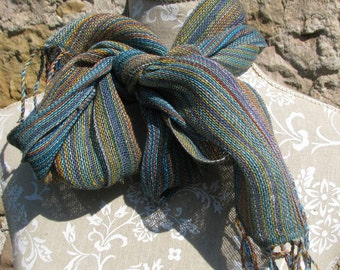 Linen Scarf- Handwoven Multicolor & Bottle Green