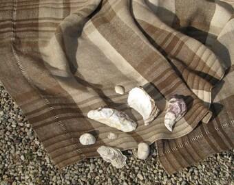 Linen Beach Towel- Handwoven Organic Dye Linen Flax