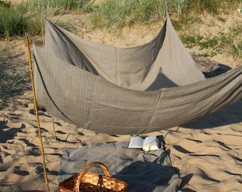 Beach Blanket- Pure Linen- Beach Life Survival Kit- SOLID GREY, handmade linen blanket, beach shade