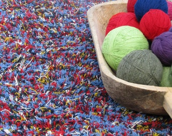 Shaggy Handwoven Wool Runner Rag Rug- Bright Colors in Blue- Faux Fur