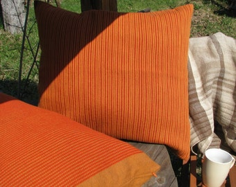 Pillow (Cushion)- handwoven Juicy Orange, design style guide, livingroom design, floor pillow, yellow orange stripe
