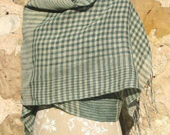 Handwoven Linen Flax Shawl- Green Islands Num3