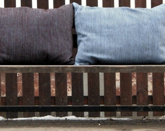 Pillow - set of two striped cushion  handwoven in chocolate brown, pale blue