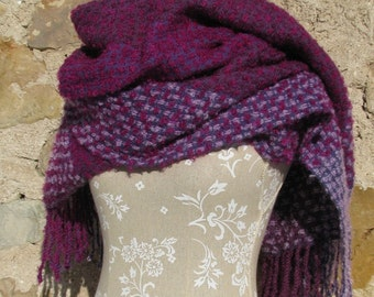 Blanket Scarf Oversized Shawl / Wrap- Crimson,Purple and Plum  Handwoven Mohair Loop and merino wool, Exclusive, Authentic handmade scarf