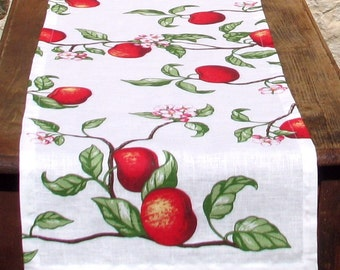 Apple Tree- Linen Flax Table Runner or Duo Placemat- Pure Linen Table Runner, Great Gift For Housewarming, Mother's Day- SALE 10 USD OFF