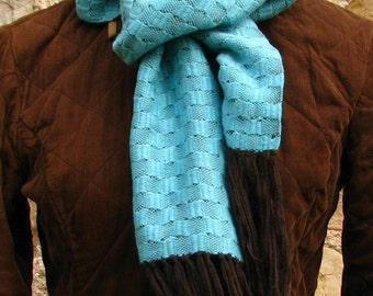 Pure Wool Scarf- Soft And Simple- Cyan Blue