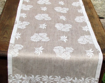 DAMASK, Linen Flax Table Runner, Duo Placemat, Revesible, SET, Damask linen set, Reversible linen runner, Europian linen, table runner