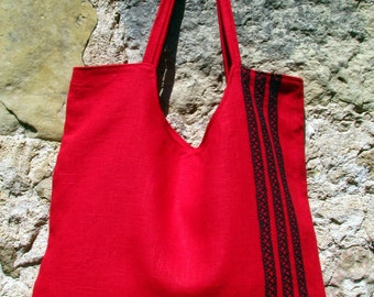 Linen Bag- Really Red- For All Purposes, carry all tote, diaper bag, market bag, extra large tote, vegan bag,