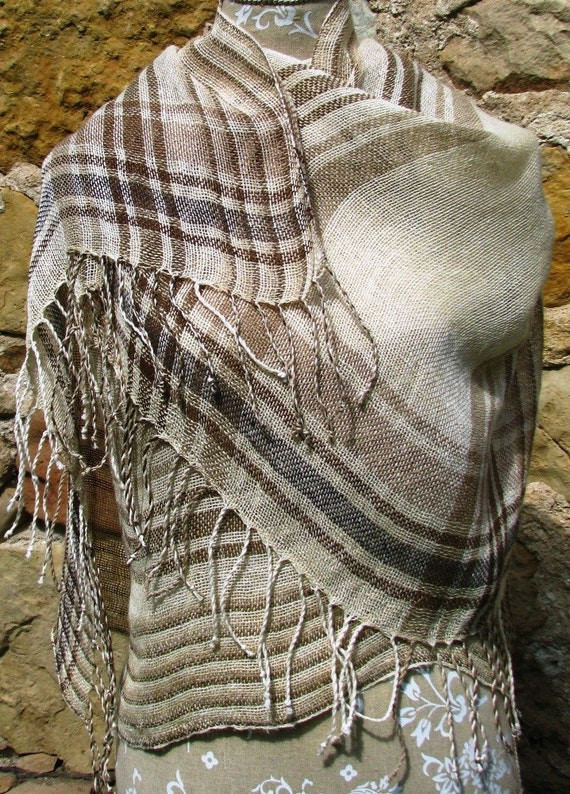 Handwoven Linen Flax Scarf (Shawl)- Made From Organic Dyed Linen Yarn