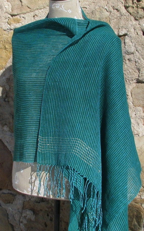 Handwoven Linen Flax With Lurex Accent- Dragonfly