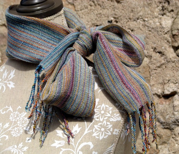 Handwoven Scarf Multicolor & Natural Linen