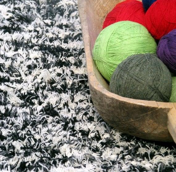SALE Rag Rug- Shaggy Handwoven Wool Runner- Birch- Faux Fur-  Ready To Ship- 6 feet 8 inches long