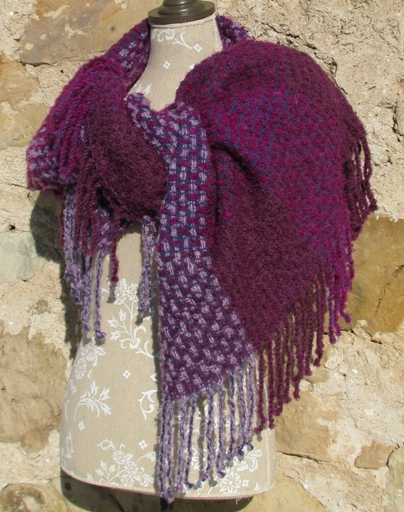 Blanket Scarf Handwoven Oversized Shawl / Wrap- Crimson,Purple and Plum