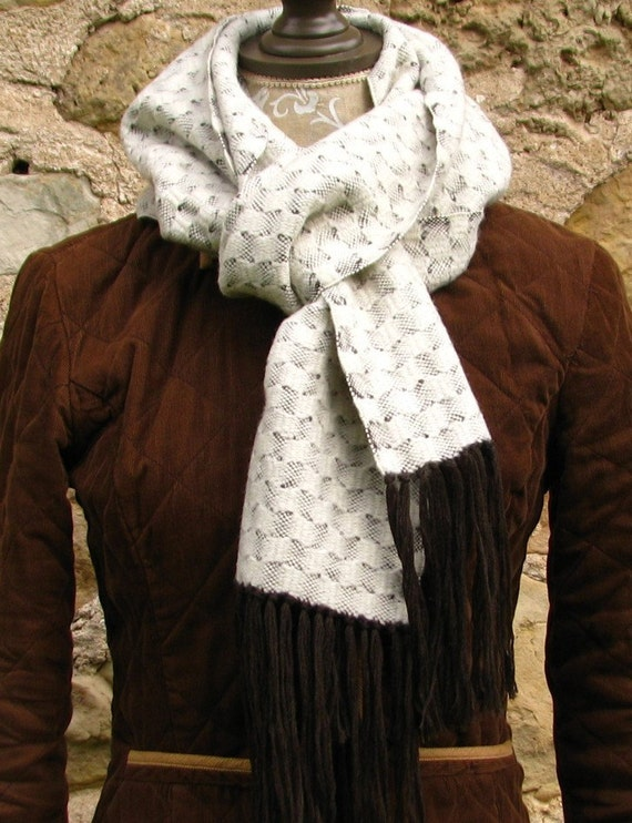 Wool Scarf Handwoven, handwoven scarf, white wool scarf, simple white scarf, hand woven shawl, woven white scarf, white scarf