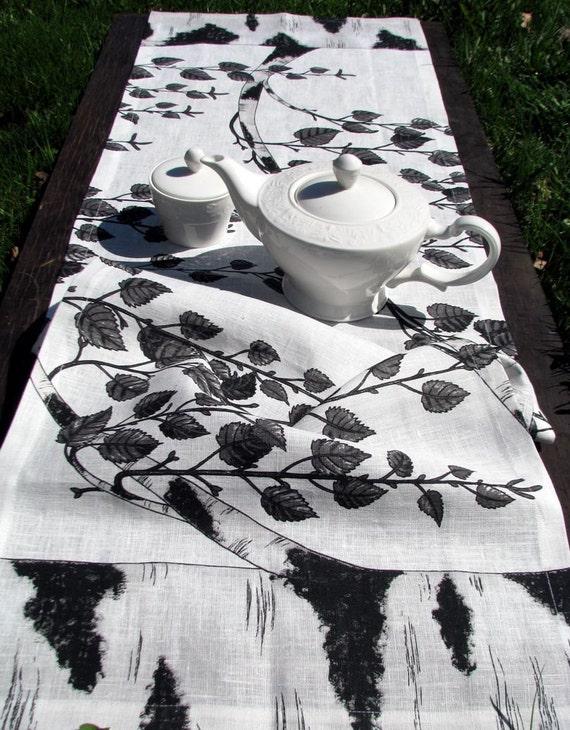 Linen Flax Table Runner- Black on White-Birch print