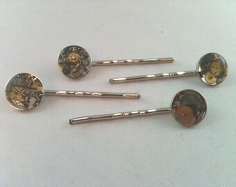 Steampunk Clockwork Clutter Watch Part Bobby Pins
