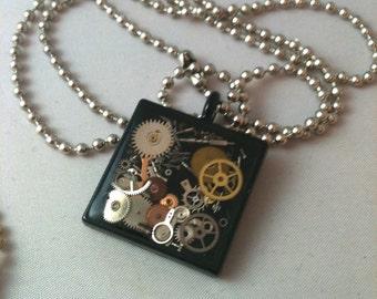 Black Clockwork Clutter Steampunk Necklace
