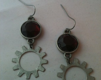 Antiqued Silver Deep Red Glass Crystal with Gears Earrings