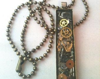 Antiqued Brass Long Clockwork Clutter Steampunk Necklace