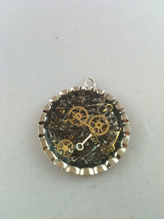Steampunk Clockwork Clutter Bottle Cap Necklace