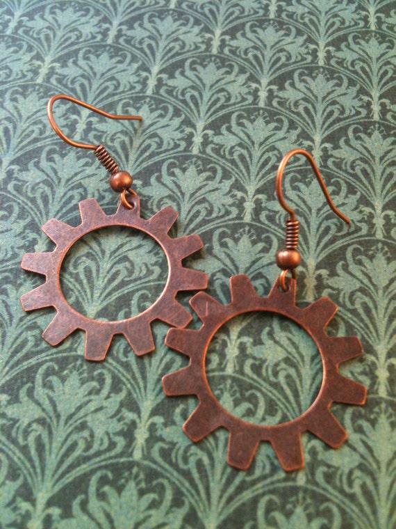 Copper Gear Steampunk Earrings