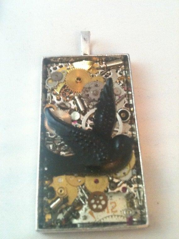 Clockwork Clutter Black Bird Steampunk Necklace