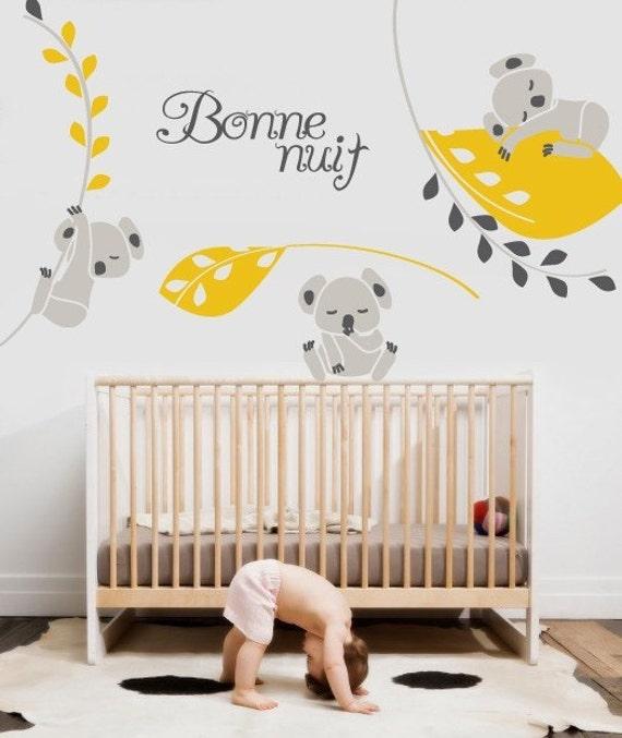 Vinyl wall sticker decal art koala nighty night - Stickers koala chambre bebe ...