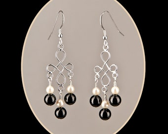 Petite Cream Colored Glass Pearl and Black Onyx Chandelier Earrings