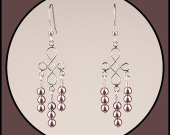 Petite Mauve Colored Glass Pearl Chandelier Earrings