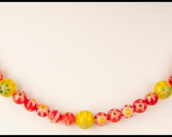 Red and Yellow Millefiori Necklace