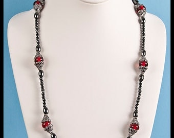 Hematite and Cranberry Glass Antiqued Sterling Silver Station Necklace and Earrings Duet