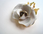 Vintage White Rose Enamel Brooch by WaveSong FREE SHIPPING